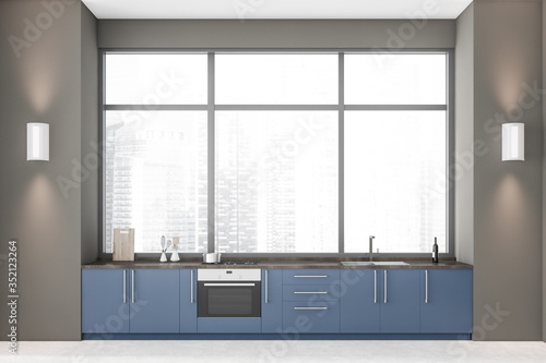 Obraz Panoramic grey kitchen with blue countertops - fototapety do salonu