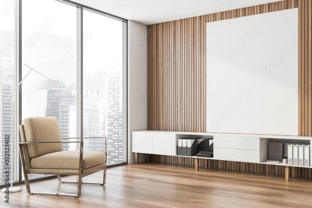 Fototapeta Wooden lounge corner, beige armchair and poster