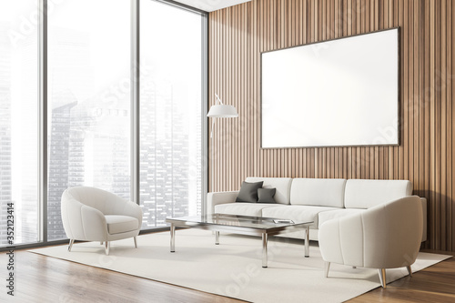 Obraz Panoramic wood lounge corner, poster and sofa - fototapety do salonu