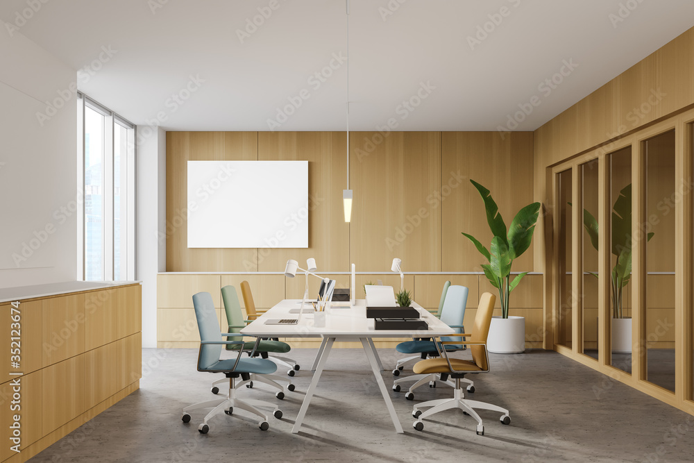 Fototapeta Wooden office, colorful chairs and poster