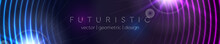 Abstract Glowing Banner With Blue Purple Neon Circles. Hi-tech Futuristic Vector Background