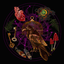 Alchemy Art. Raven, Golden Cage, Moon, Fern, Keys And Anatomical Heart. Occult And Esoteric Art. Black Magic Illustration. Embroidery. Dark Gothic Template For Clothes, Textile, T-shirt Design