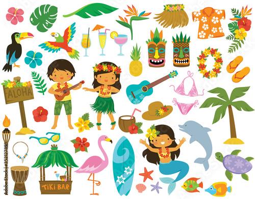 Obraz na plátne Tropical clipart set