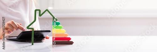 Papel de parede Close-up Of A House Showing Energy Efficiency Rate