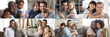 Leinwandbild Motiv Happy multiethnic young adult and old daddies hugging children looking at camera. Smiling african and caucasian dads posing with kids for family faces headshots portraits. Fathers day concept. Collage