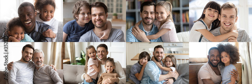 Fototapeta Happy multiethnic young adult and old daddies hugging children looking at camera. Smiling african and caucasian dads posing with kids for family faces headshots portraits. Fathers day concept. Collage obraz