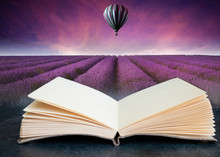 Conceptual Composite Open Book Image Of Stunning Lavender Field Landscape Summer Sunset With Hot Air Balloon