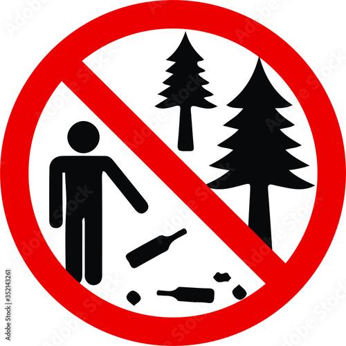 Do not litter sign camp sign Wallpaper Mural