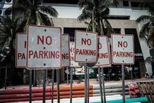 No Parking Sign Against Buildings