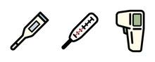 体温計のアイコンのセット/体温/非接触型体温計