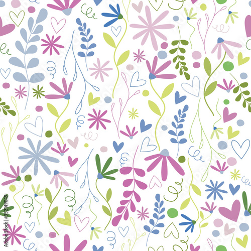 Floral Seamless repeat pattern in vector Wallpaper Mural