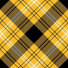 Tartan Scotland Yellow Black Pattern Vector. Diagonal Plaid For Modern Textile Prints.
