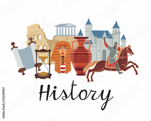 History icon. A set of subjects for designating school discipline. Vector color graphics