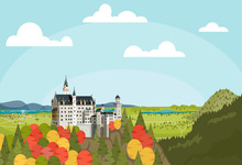 The Panoramic View Of The Neuschwanstein Castle In Autumn Season, The Village, The Lake On Clear Day. Vector Illustration Flat Design For Banner, Poster, And Web Background. Bavarian Alps Of Germany.