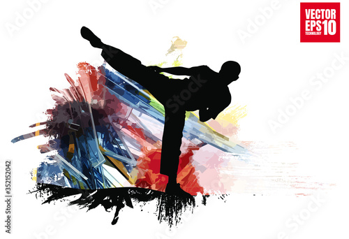 Obrazy Karate   young-male-karate-warrior-healthy-lifestyle-martial-arts-vector