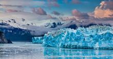 Hubbard Glacier In Alaska Under Cloudy Skies
