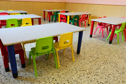 Fototapeta school class with empty desks without children because of the ep obraz