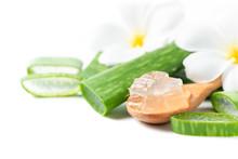 Fresh Slice Aloe Vera On  Wood Spoon Isolated On White Background,