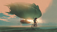 See You In The Next Century. Kid Rides A Bicycle Waving Good Bye To The Airship At Sunset, Digital Art Style, Illustration Painting