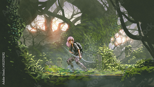 young hunter in the deep forest. adventure girl holding a bow in the forest, digital art style, illustration painting