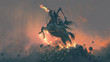 Leinwandbild Motiv the horseman, grim reaper riding the horse jumping  from a pile of human skulls, digital art style, illustration painting