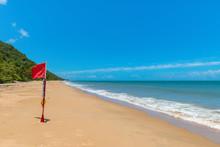 Danger Signal - Red Flag At Ellis Beach, Palm Cove, Queensland, Australia