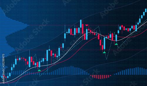 Leinwand Poster Stock market candlestick chart vector illustration