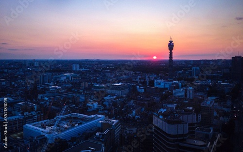 Ariel View Of Cityscape At Sunset Canvas Print
