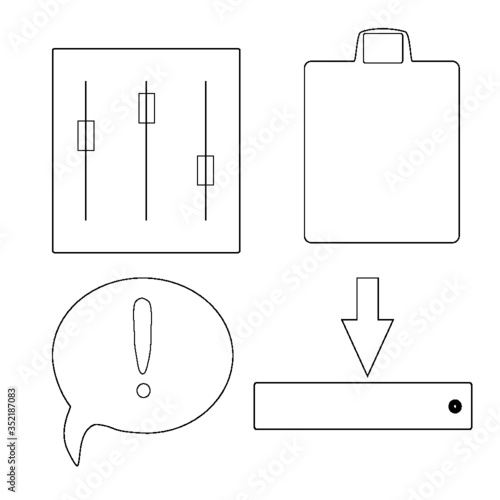 set of vector drawing tools - 352187083
