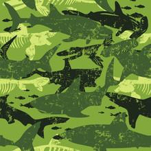Seamless  Camouflage Shark Pat...