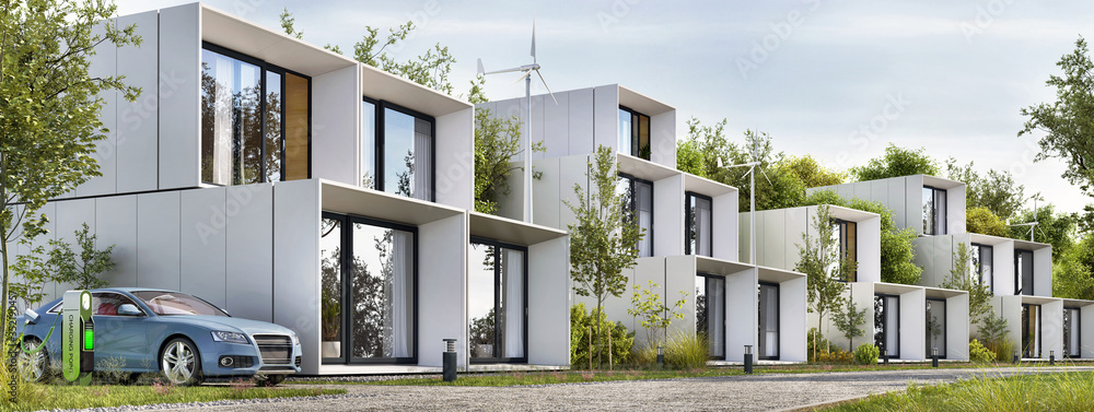Fototapeta Modular houses of modern architecture and an electric car