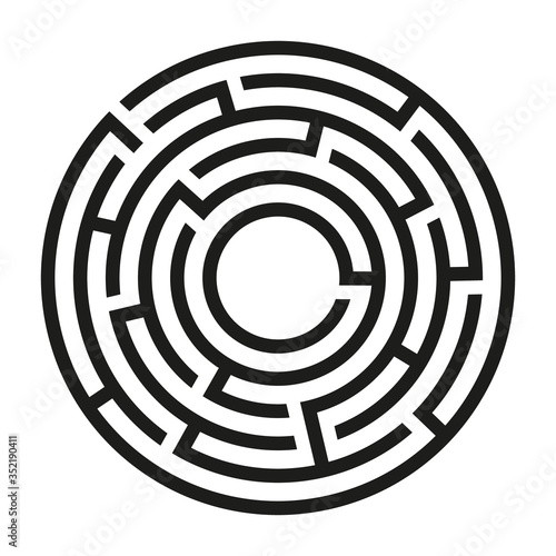 Fotografía Black circle vector maze isolated on white background