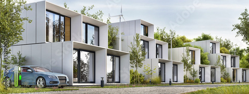 Fototapeta Modular houses of modern architecture and an electric car obraz