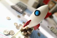 Space Rocket Model Stands On D...