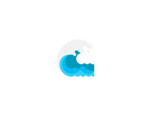 Water Wave Vector Flat Icon. Isolated Sea, Ocean Wave Emoji Illustration