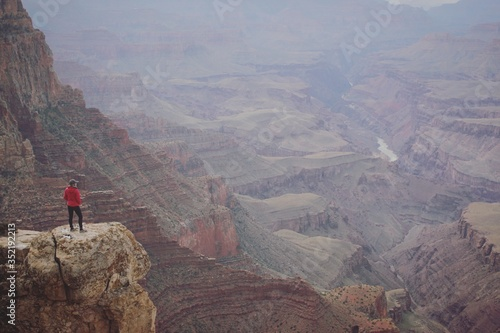 High Angle View Of Person Standing On Rock At Grand Canyon Fototapet