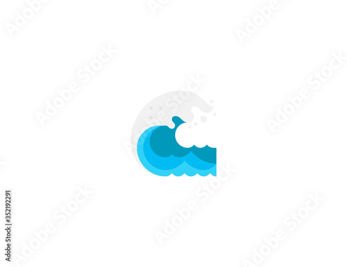 Water wave vector flat icon Wallpaper Mural