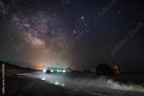 Fototapeta Bright Illuminated Milky Way And Constellations At Night