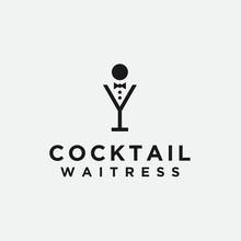 Cocktail Waitress Logo. Waitress Icon