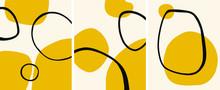 Abstract Yellow Minimalist Art Mid-century Decor Set Vector Illustration