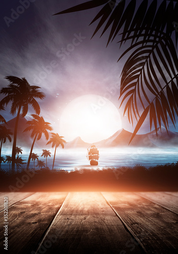 Sea evening landscape with sunset. Palm tree branches, silhouettes, sunlight. Wooden table by the sea. Night view, open-air seascape. 3D illustration