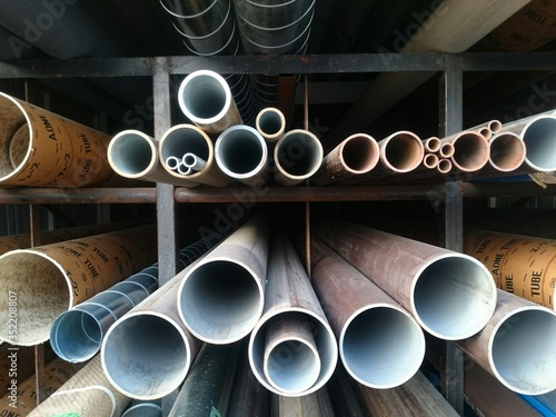 Obraz na płótnie Pipes In Rack In Construction Site