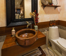 Toilet With Antique Wash Basin