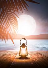 Night Lantern On The Pier, Aga...