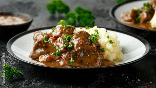 Fototapeta Fried Liver in gravy with mashed potato obraz
