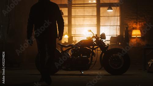 Fotografie, Obraz Custom Bobber Motorbike Standing in an Authentic Creative Workshop