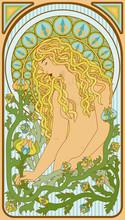 Art Nouveau Blonde Woman Floral Card, Vector Illustration
