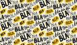 Bla bla seamless pattern, different hand lettering words with yellow speech bubbles. Buzz concept, chat background. Vector repeated texture.