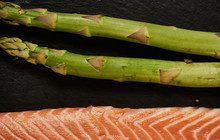 Salmon Fish Cooking Raw Fillet Pepper Salt Olive Oil Rosemary Lemon Green Asparagus Wooden Table Lifestyle Healthy Concept
