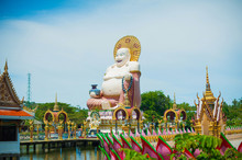 Giant Buddha Statue, Pu Tai, Happy Buddha Or Laughing Big Buddha At Wat Plai Laem Temple On Koh Samui In Thailand